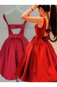 Ball Gown Sleeveless Bow Ruching Tea-length Satin Homecoming Dress