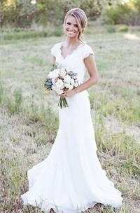 Cap Sleeve V-neck Sheath Chiffon Dress With Lace Bodice and Sash