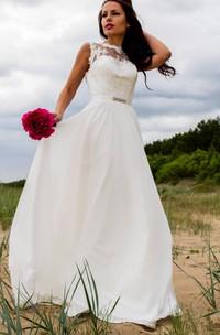 Chiffon Lace Satin Weddig Dress With Illusion