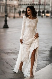 Elegant Lace Sheath Long Sleeves Bridal Gown with Low-V Back