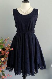Dark Navy Lace Backless Dress