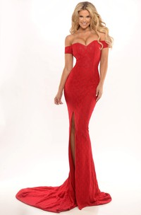 Sheath Maxi Off-The-Shoulder Split-Front Lace Prom Dress With Low-V Back And Court Train