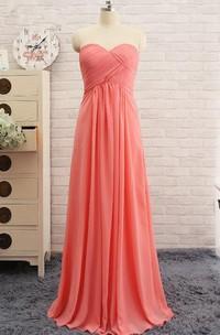 Sweetheart A-line Long Chiffon Dress with Criss-cross Ruching