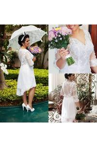 Hi Lo Vintage Plus Size Lace A Line Half Long Sleeves Illusion Bodice Bridal Garden