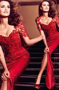 Hot Sale Red Lace Chiffon Evening Party Dresses Short Sleeve Prom Dresses on Sale
