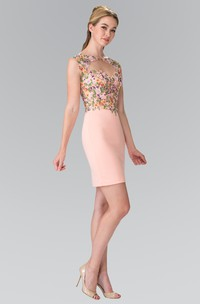 Pencil Mini Bateau Cap-Sleeve Jersey Keyhole Dress With Appliques And Flower