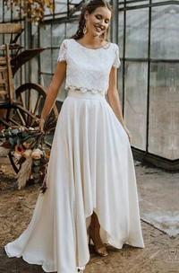 Two Piece Bateau Satin and Lace Floor-length Short Sleeve Wedding Dress with Pleats