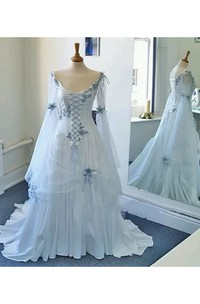 A-line Scoop Bell Long Sleeve Floor-length Court Train Chiffon Tulle Prom Dress with Appliques and Pleats