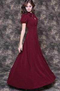 Elegant Burgundy Floor-length Dress