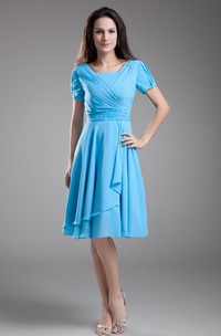 Chiffon Sleeve Square-Neck Midi Dress With Draping