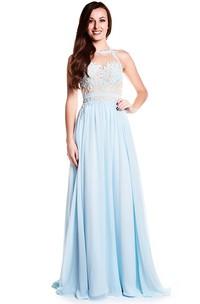 Floor-Length High Neck Sleeveless Appliqued Chiffon Prom Dress
