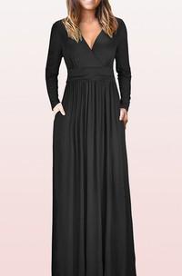 A Line V-neck Jersey Mother Formal Dress With Pockets