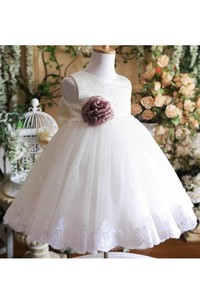 Sleeveless Jewel Neck Lace Waist Tulle Ball Gown With Beaded Detailing and Flower