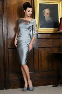 Sheath Bateau Illusion 3-4 Length Sleeve Knee-length Satin Lace Mother of the Bride Dress with Appliques