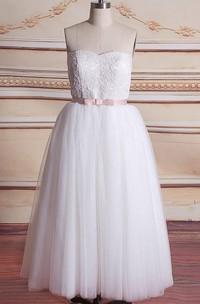 Mini Sweetheart Tulle Lace Satin Weddig Dress