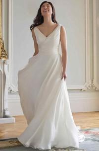 Sheath Long-Sleeveless V-Neck Chiffon Wedding Dress With Ruching