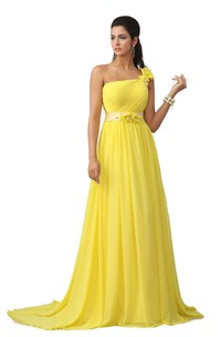 One-shoulder A-line Chiffon Dress With Floral Detail