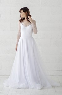 Long Sleeve Scalloped Illusion Lace Tulle Wedding Gown With Button Back