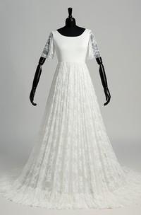 Floor-length Sweep/Brush Train A-line Scoop Illusion Short Sleeve Satin Lace Weeding Dress