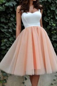 A-line Ball Gown Straps Sleeveless Pleats Tea-length Satin Organza Homecoming Dress