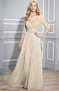 Half Sleeve Bateau Neck Appliqued Jersey Formal Dress With Illusion Back