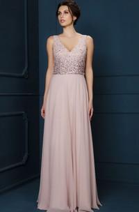A-Line Long Beaded V-Neck Sleeveless Chiffon Evening Dress