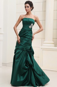 Unique Satin Ruched Strapless Dress With Pick-Up Ruffles