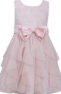 Sleeveless Ruffled Lace Bodice Dress With Bow