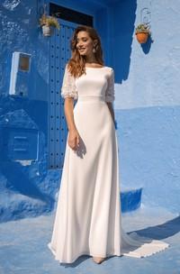 Puff Half Sleeve Deep V-back Bateau Chiffon Wedding Dress With Flowers Details