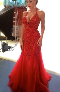 Sexy Beadings Tulle Mermaid Red Evening Dress 2018 Spaghetti Strap
