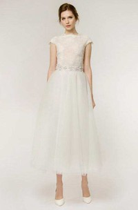 A-Line Tea-Length Cap Sleeve Lace Tulle Wedding Dress