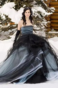 Ball Gown Strapless Tulle Floor-length Sweep Train Sleeveless Wedding Dress with Open Back