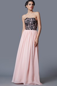 Fantastic Sleeveless Lace Appliqued Long Chiffon Dress With Pleats
