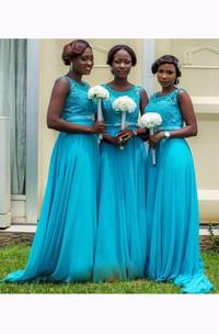 A-line Maxi Scoop Straps Sleeveless Bell Chiffon Lace Dress