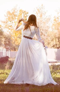 Long Sleeve Chiffon Lace Weddig Dress