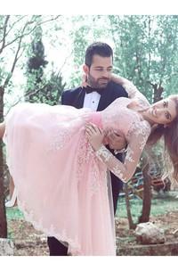 A-line V-neck Long Sleeve Pleats Sash Ribbon Knee-length Lace Homecoming Dress