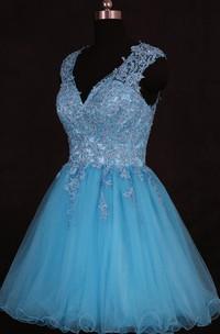 Short V-neck Organza Dress With Sequins