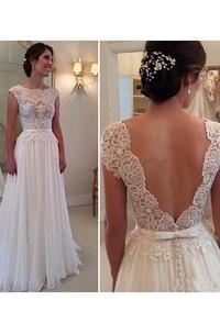 A-Line Princess Scoop Sleeveless Applique Floor-Length Chiffon Dresses