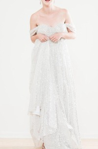 Silver Sequin Tulle Wedding Amanda Dress