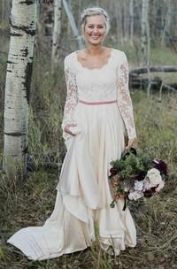 Elegant Sheath Scalloped Long Sleeve Lace And Satin Wedding Dress