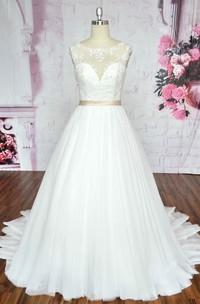 Deep V-back Ballgown Sleeveless A-line Tulle Wedding Dress With Illusion Neckline