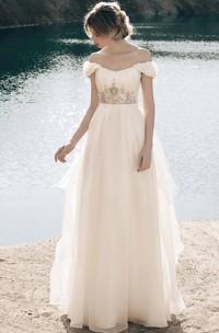 Bohemian Organza Crystals Crown Decor Princess Gown