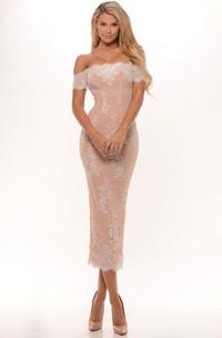 Pencil Tea-Length Appliqued Off-The-Shoulder Prom Dress With Split Back