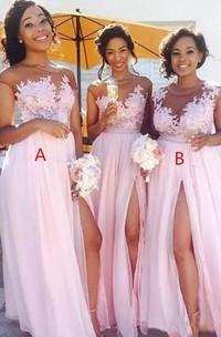 A-Line Jewel Short Sleeve Tulle Dress