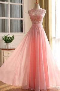 A-line Sleeveless Zipper Back Chiffon Lace Dress