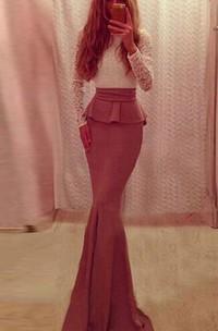 Floor-length Long Sleeve Chiffon Ruffled Lace Dress