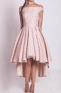 Off-the-shoulder Dress With Flower&Zipper
