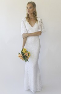 Illusion Half Bell Sleeve V-neck Floor-length Mermaid Lace Wedding Dress With V-back