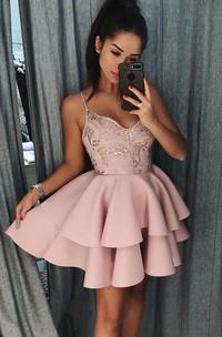 A-line Spaghetti Sleeveless Beading Lace Ruffles Tiers Short Mini Satin Lace Homecoming Dress