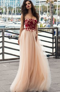 Bohemian Lace Tulle Strapless A Line Sleeveless Prom Dress with Appliques